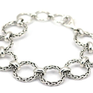 Bali Sterling Silver Round Wheat Chain Station Bracelet