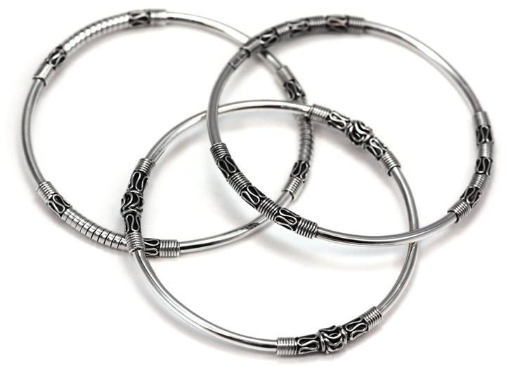 Bali Sterling Silver Set of Three Bali Bangles