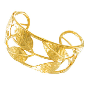 Gold Hammered Double Leaf Cuff