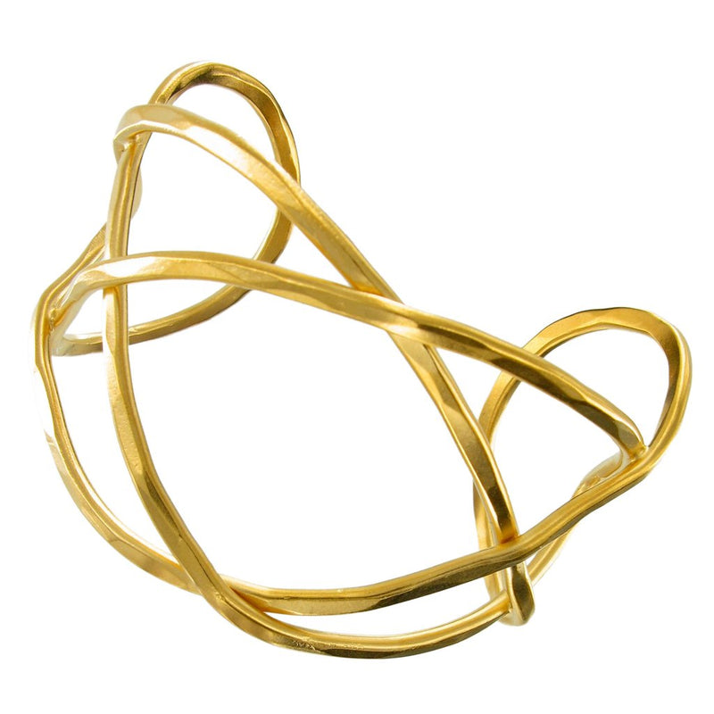 Gold Hammered Free Formed Bent Wire Cuff
