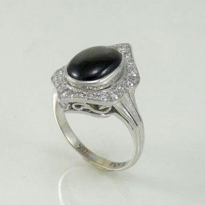 Black Star Sapphire Engagement Ring