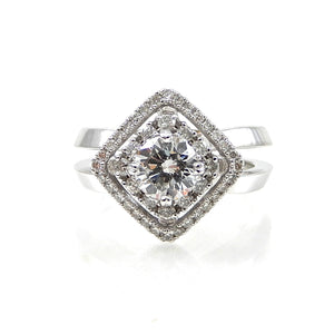 CUSTOM DIAMOND HALO ENGAGEMENT RING FOR SALE