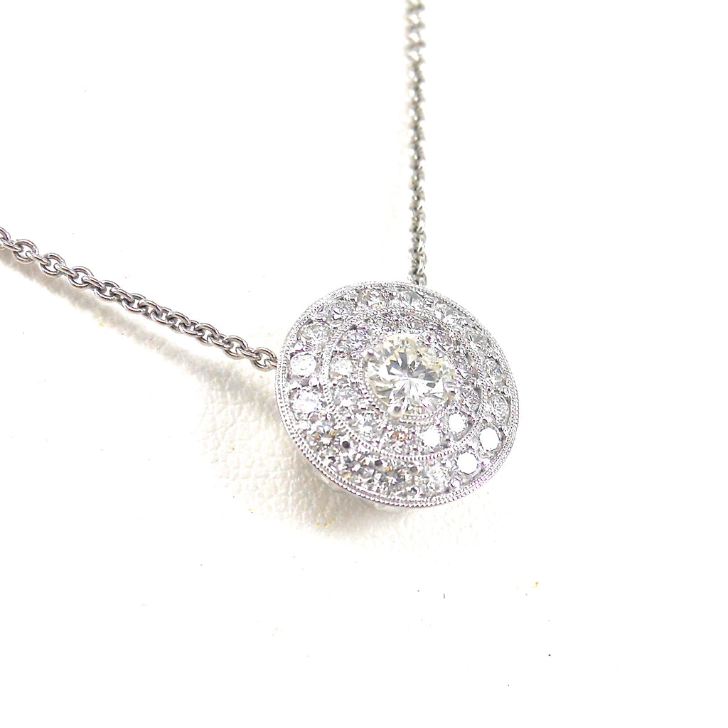 Diamond Slide Pendant with Double Halo