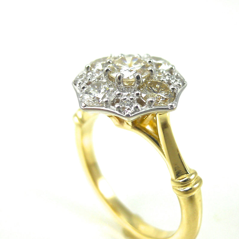 two tone engagement ring halo of diamonds