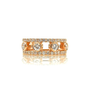 Four diamond Rose gold wedding set
