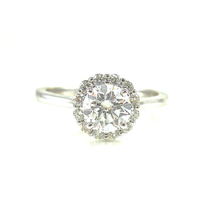 round 4 prong set diamond halo custom engagement ring