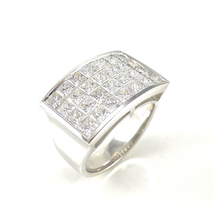 custom handcrafted Invisible set diamond ring