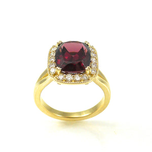 Yellow-Gold Rhodolite Garnet Ring with diamond halo