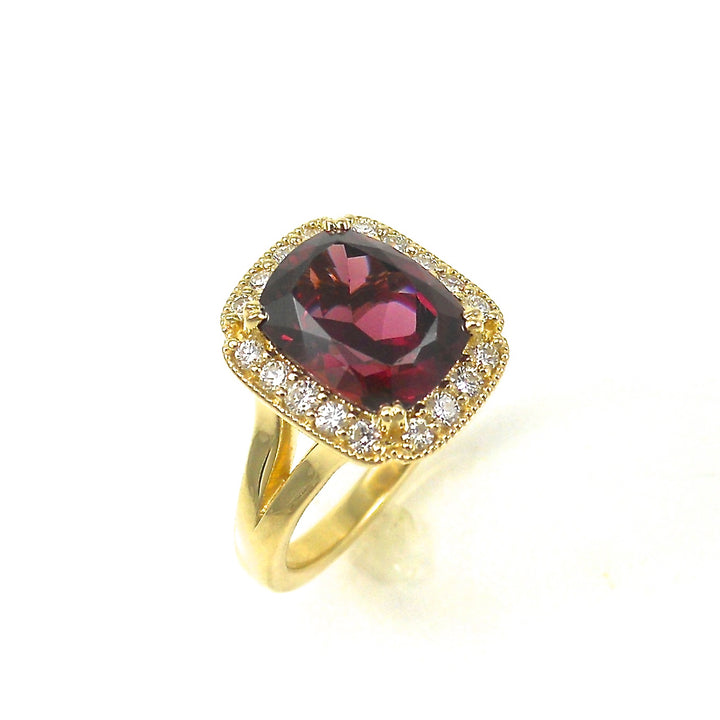 Rhodolite Garnet Ring with diamond halo