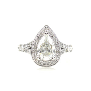 pear shaped 3 prong set diamond halo custom engagement ring