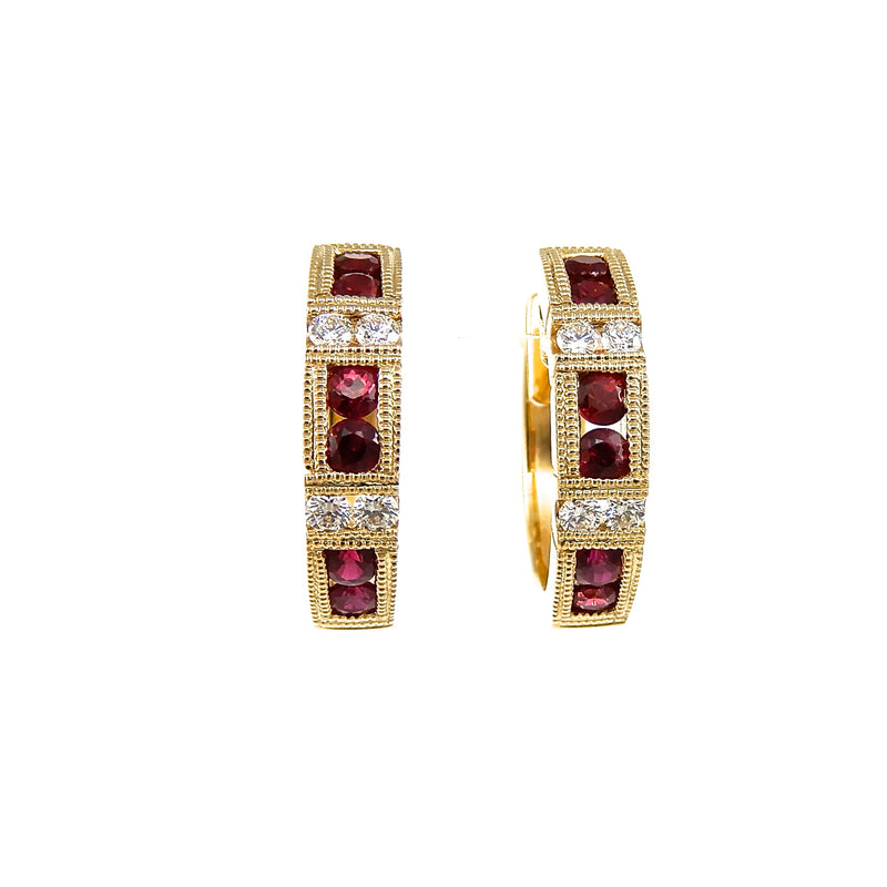14k yellow-gold, huggie-style hoop earrings with rubies accented with round brilliant cut diamonds and milgrain detailing