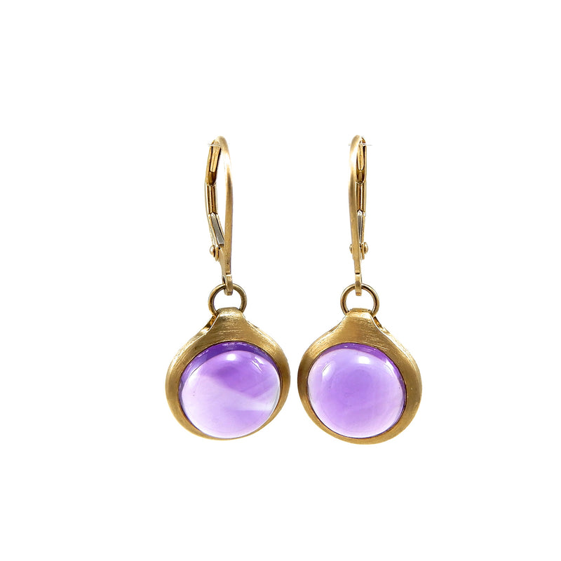 14k yellow-gold lever-back earrings purple cabochon amethysts in satin finished bezels