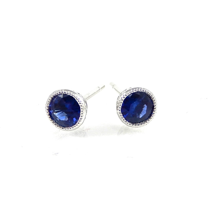 .51 total carats royal blue sapphires set in 14k white-gold with milgrain accented mountings