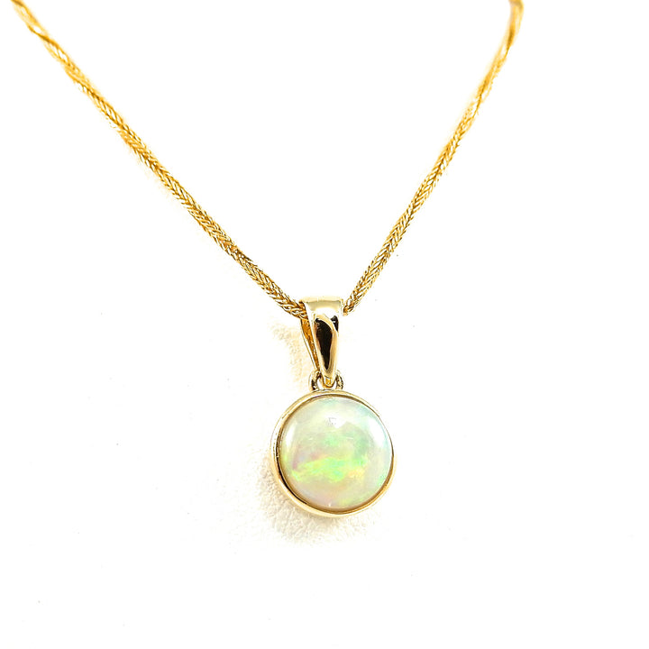14k yellow-gold bezel set opal necklace