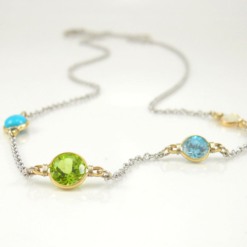 turquoise, opal, peridot, and blue topaz necklace