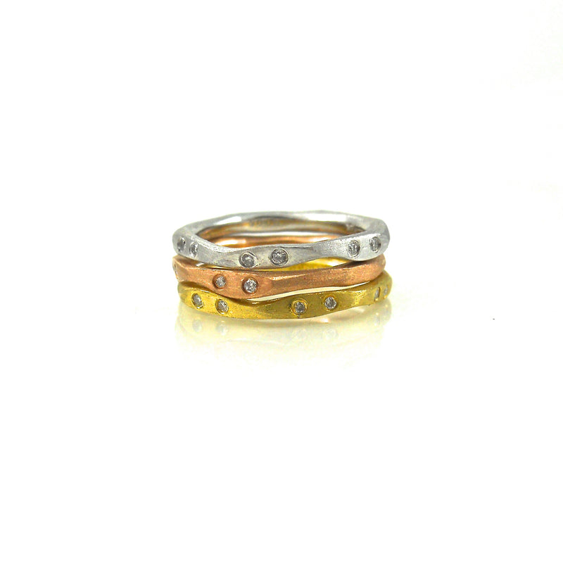 tri colored gold and diamond bands