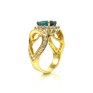 Tourmaline and Diamond Ring Yellow Gold