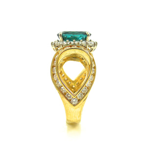 Custom Tourmaline and Diamond Ring Yellow Gold