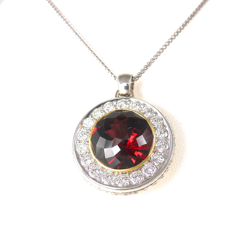14k yellow and white-gold pendant with red Rhodolite Garnet and diamonds