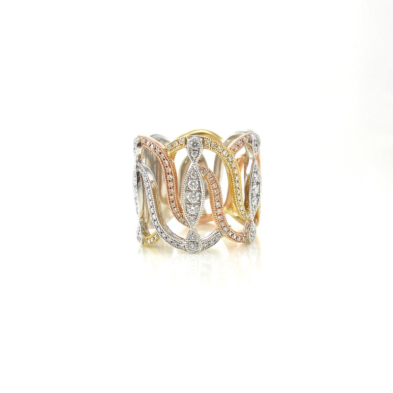 14k rose, white and yellow-gold diamond band