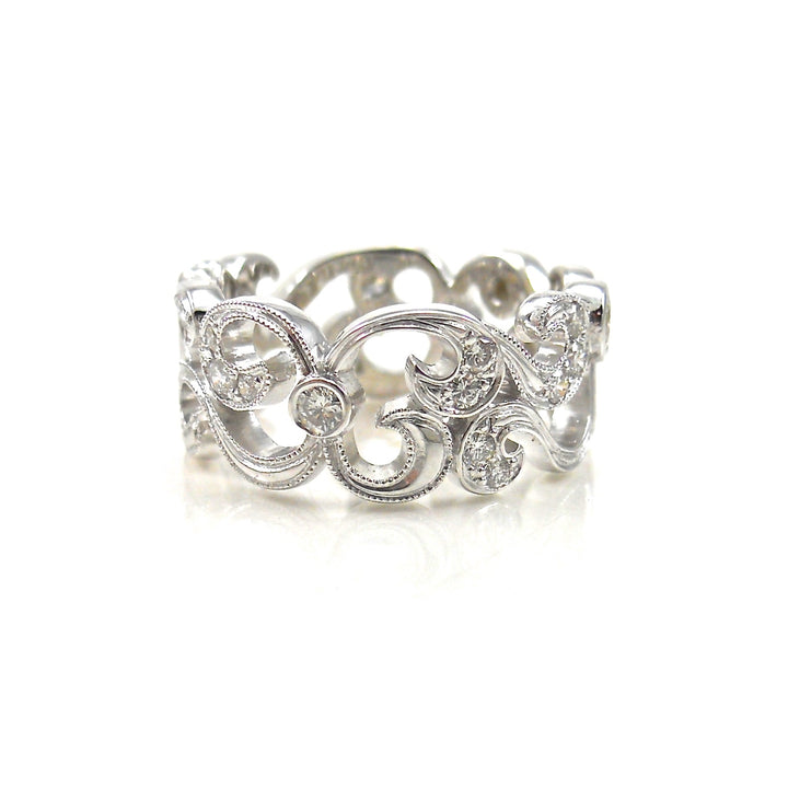 Scrollwork and Miligrain Diamond Ring