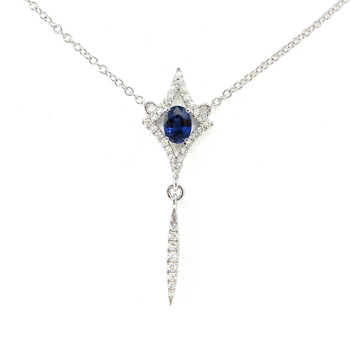 14k white gold stationary sapphire necklace