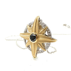 Sunflower and Compass Reversible Pendant