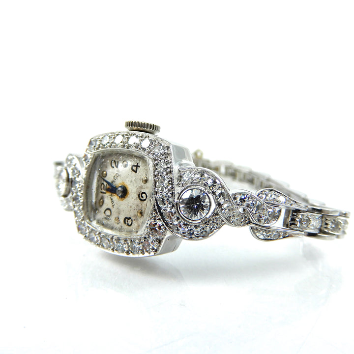 antique Tiffany's platinum watch features 2.21 carats of diamonds