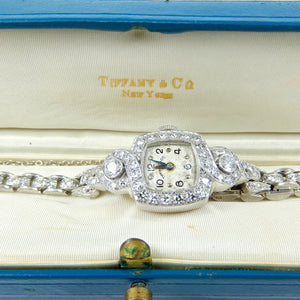 antique Tiffany's platinum watch with 2.21 carats of diamonds