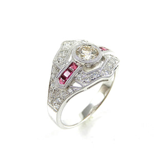 Diamond & Ruby Art Deco Ring