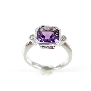 1.66ct Amethyst and Diamond 14K White Gold Ring