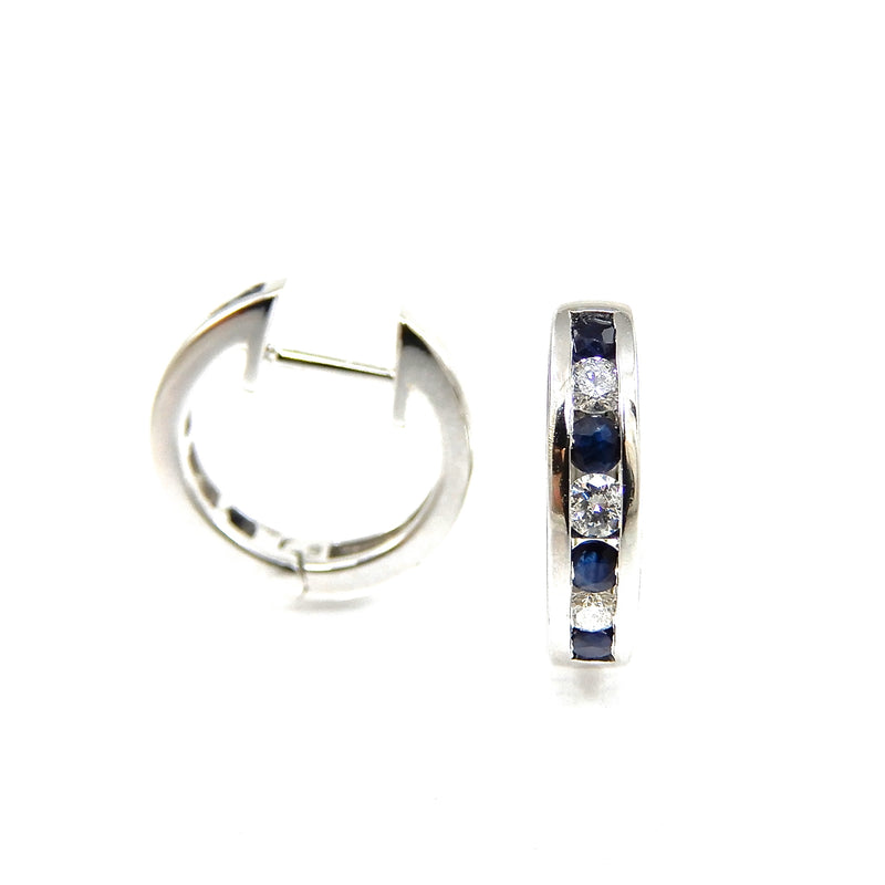 14k white-gold diamond and sapphire huggie earrings