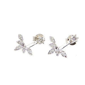 Diamond Leaf Front/Back Earrings