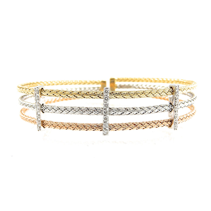 Tri Color Diamond Accented Cuff