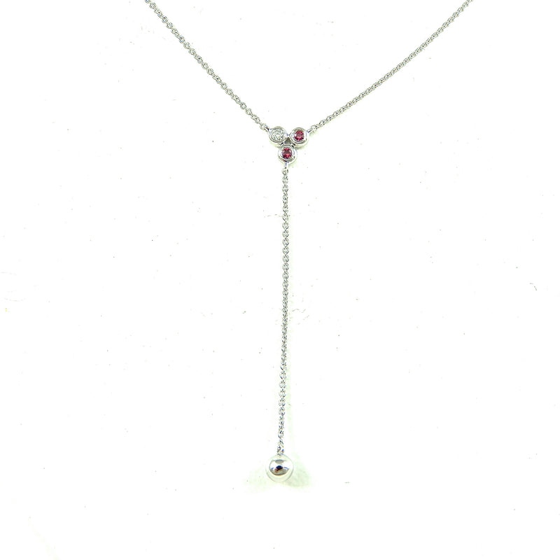 14k white gold ruby and diamond y necklace