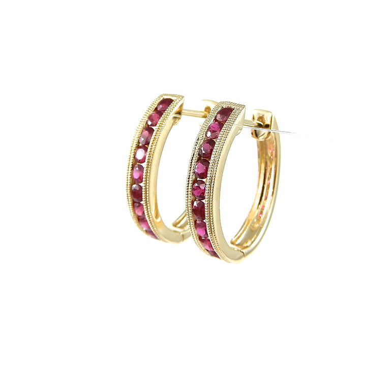 14k yellow gold ruby hoop earrings