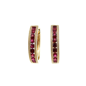 custom 14k yellow gold ruby hoop earrings