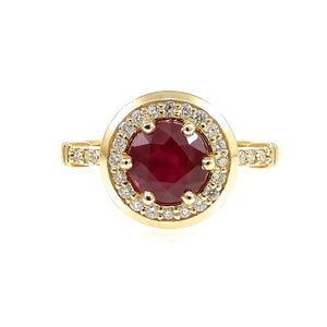 Custom Ruby and Diamond Halo Ring