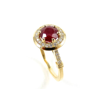 Custom Made Ruby and Diamond Halo Ring