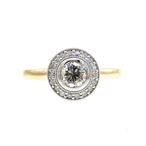 handcrafted bezel set diamond halo custom engagement ring