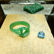 Load image into Gallery viewer, blue-green, trillion cut sapphire center stone