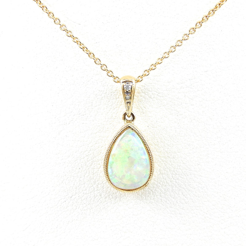 Pear Shape Opal Pendant with miligrain and diamond accents