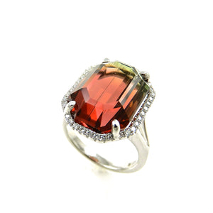 14k white gold watermelon tourmaline and diamond ring for sale