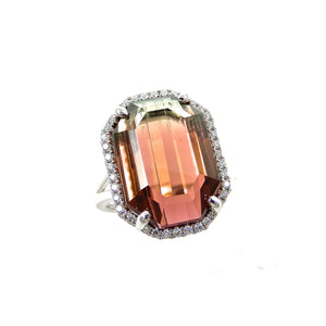 custom 14k white gold watermelon tourmaline and diamond ring