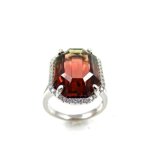 13.77ct 14k white gold watermelon tourmaline and diamond ring for sale