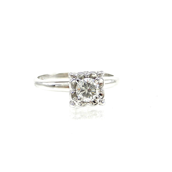 vintage 14k white-gold solitaire engagement ring for sale