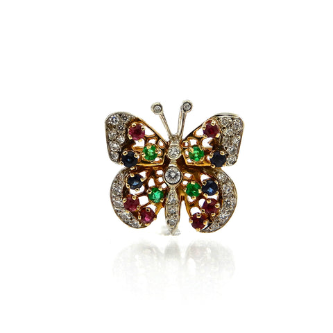 Diamond & Gemstone Butterfly Pendant