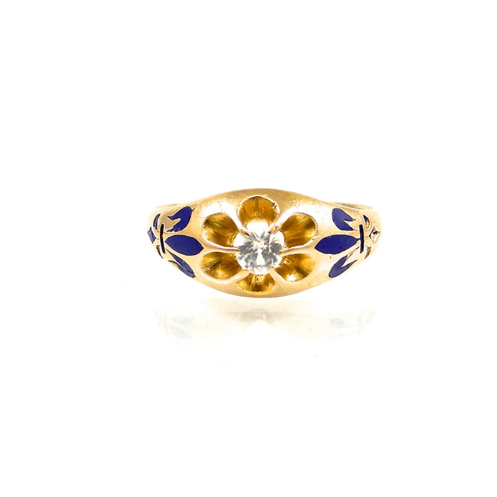 White Sapphire and Enamel Ring yellow gold