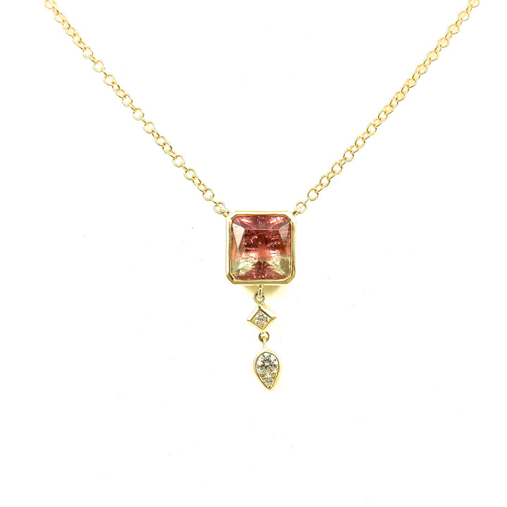 watermelon tourmaline bezel necklace set in 14k yellow gold with diamond accents for sale