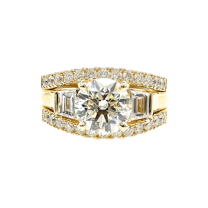 Custom Trapezoid Diamond Accented Ring